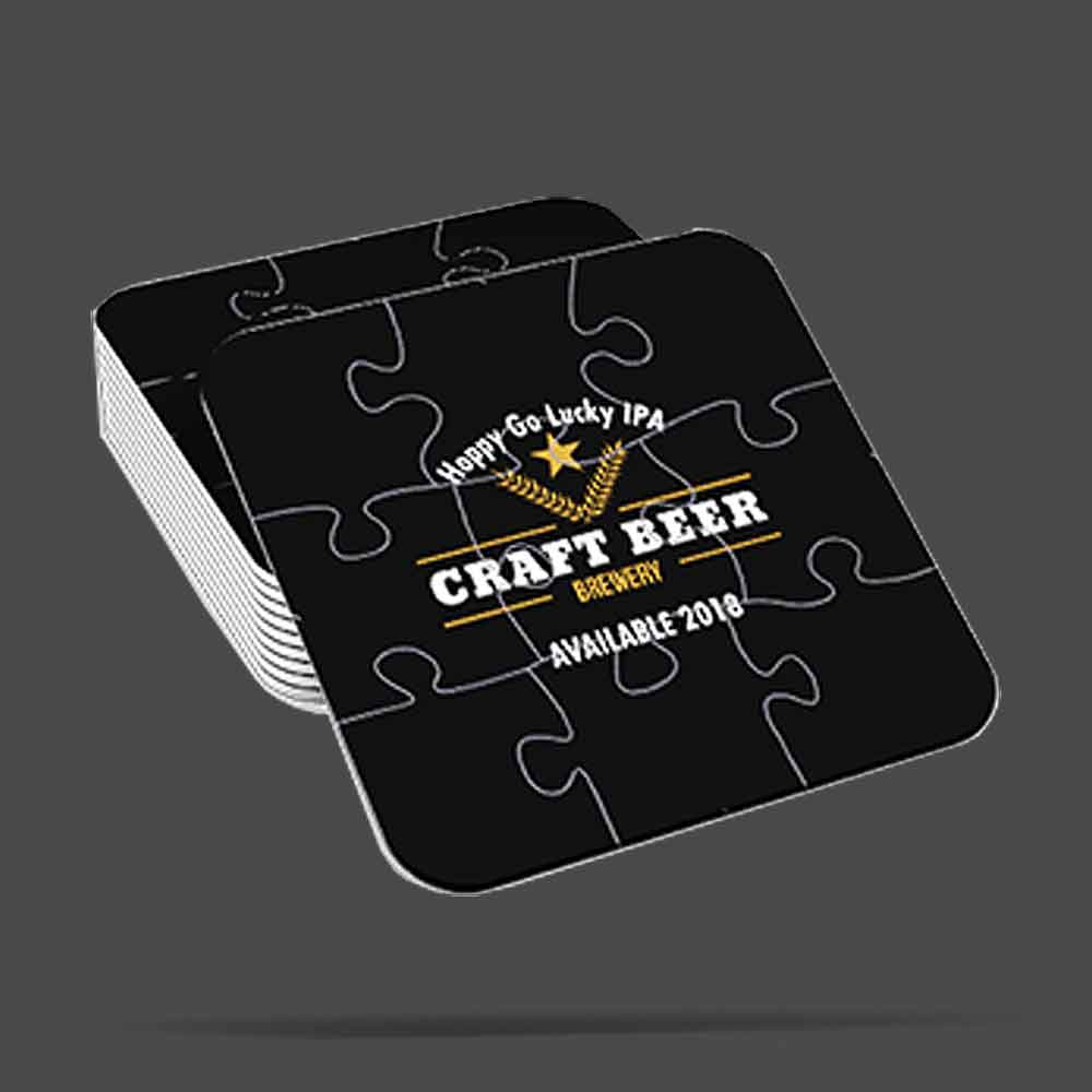 stacked custom puzzle drink coasters