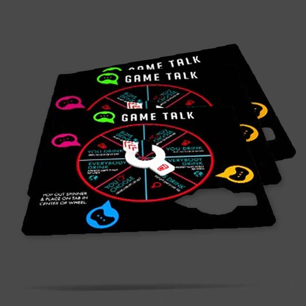 pop-ups! game coaster with spinner game design