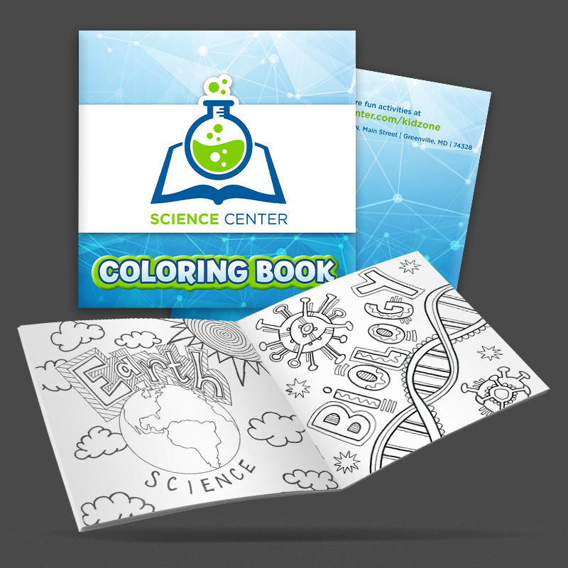 custom science themed coloring books standing and opened