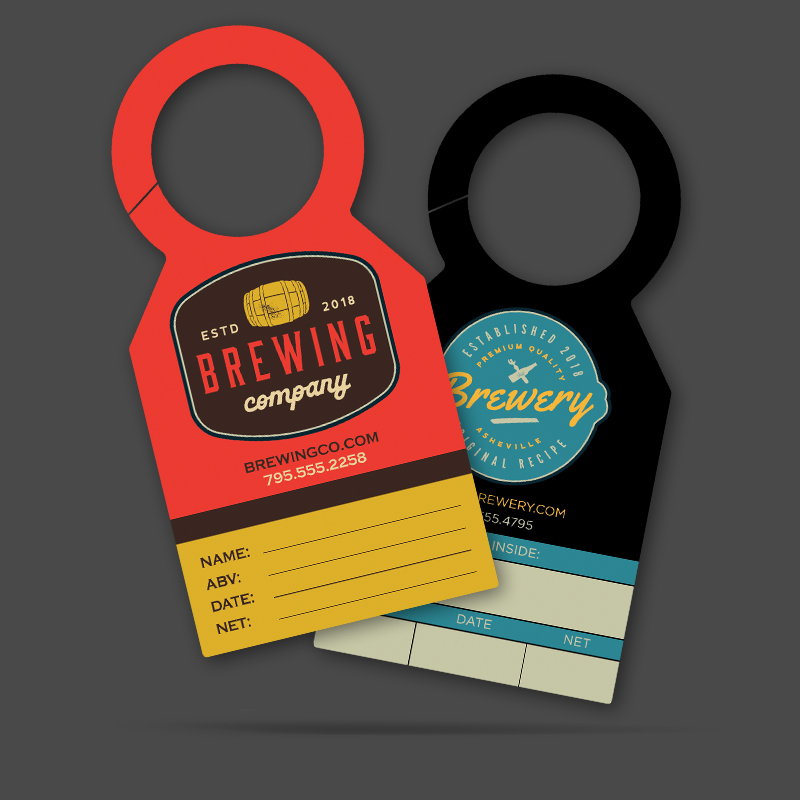 two growler tag options fanned out