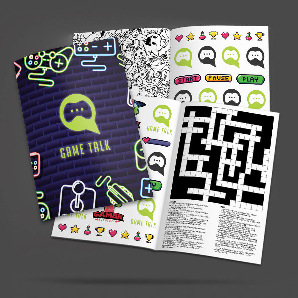 custom gamer tattoo booklet open to show examples